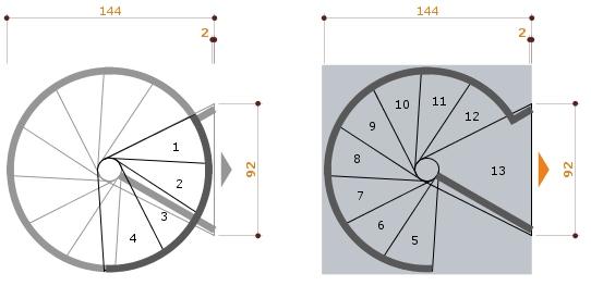 Kit gradino supplementare scala a chiocciola exterior zink for Schemi di scala a chiocciola