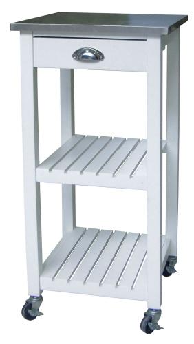 carrello cucina legno tagliere acciaio inox cassetto 40x40xh85